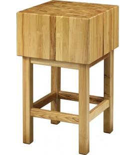 Ceppo per macelleria + sgabello in legno di acacia spessore 25cm CCL2544