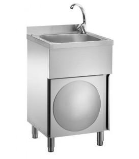 Lavamani inox su mobile con porta a battente LC50MM