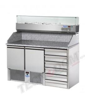 Saladette 2 porte con 2 cassettiere e 6 cassetti, piano in granito e vetrina refrigerata mod SL02C6VR4/C2SLSX/C2SLSD