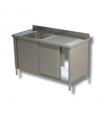 Lavatoio armadiato 1 vasca con sgocciolatoio destro e porte scorrevoli profondità 600mm