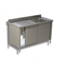 Lavatoio armadiato 1 vasca con sgocciolatoio sinistra e porte scorrevoli profondità 700mm