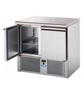 Saladette 2 porte con doppia cassettiera con piano in acciaio inox mod SL02NX/C2SLDX/C2SLSX