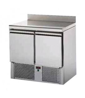 Saladette 2 porte con doppia cassettiera con piano e alzatina in acciaio inox mod SL02AL/C2SLDX/C2SLSX
