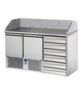 Saladette 2 porte con cassettiera a sinistra, porta a destra e 6 cassetti, piano con alzata in granito mod SL02C6/C2SLSX