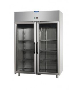 Armadio combinato refrigerato 1200 acciaio inox (temp. normale + temp. Normale) 2 porte vetro, 2 neon mod AF12EKOPPPV