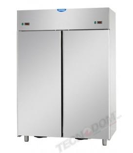 Armadio combinato refrigerato GN2/1 in acciaio inox a doppia temperatura (temp.normale + temp. normale) con 2 porte mod AF14EKOP